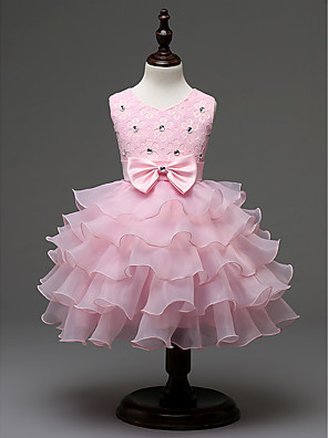 cheap Top Sellers-Kids Girls' Sweet Princess Party Holiday Solid Colored Sequins Bow Layered Sleeveless Dress White