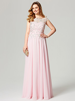 cheap Evening Dresses-A-Line Elegant Pastel Colors Beaded & Sequin Holiday Cocktail Party Prom Dress Illusion Neck Short Sleeve Floor Length Chiffon with Sash / Ribbon Pleats Beading 2020 / Formal Evening