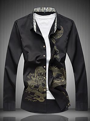 cheap Men's Jackets & Coats-Men's Animal Dragon Print Shirt - Cotton Chinoiserie Daily Wine / White / Black / Navy Blue / Long Sleeve