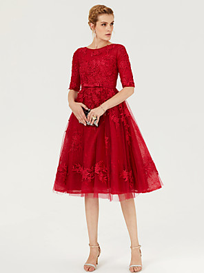 cheap Cocktail Dresses-Ball Gown Elegant Cute Holiday Cocktail Party Dress Jewel Neck Half Sleeve Knee Length Lace Over Tulle with Sash / Ribbon Bow(s) Appliques 2020