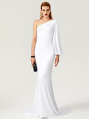cheap Cocktail Dresses-Mermaid / Trumpet Celebrity Style White Engagement Formal Evening Dress One Shoulder Long Sleeve Court Train Jersey with Pleats 2020