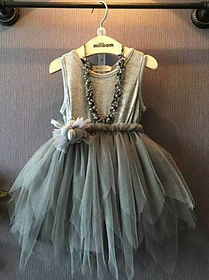 cheap Girls' Dresses-Toddler Girls' Bow Solid Colored Color Block Half Sleeve Rabbit Fur Dress Gray / Cotton