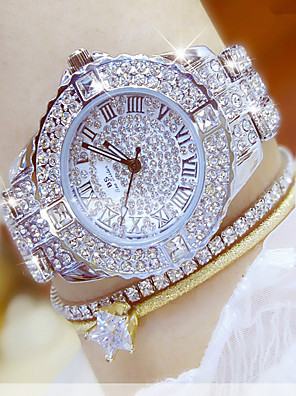 cheap Prom Dresses-Women's Luxury Watch Wrist Watch Diamond Watch Stainless Steel Silver / Gold Water Resistant / Waterproof Chronograph Creative Analog Ladies Simulated Diamond Watch Elegant Bling Bling - Golden Watch