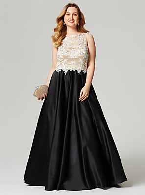 cheap Wedding Dresses-A-Line Color Block Beautiful Back Holiday Cocktail Party Prom Dress Illusion Neck Sleeveless Floor Length Satin with Beading Appliques 2020 / Formal Evening
