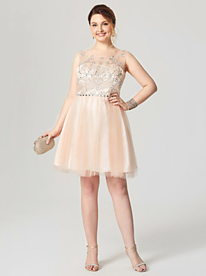 cheap Cocktail Dresses-Back To School A-Line Fit & Flare Sparkle & Shine Open Back Homecoming Cocktail Party Dress Illusion Neck Sleeveless Knee Length Tulle with Pleats Crystals 2020 Hoco Dress