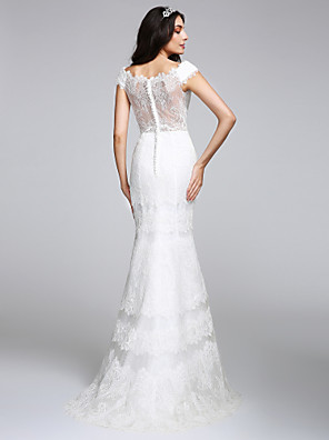 cheap Evening Dresses-Mermaid / Trumpet Wedding Dresses V Neck Floor Length All Over Lace Cap Sleeve Romantic Sexy Illusion Detail Backless with Lace 2020