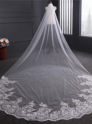 cheap Wedding Veils-One-tier Lace Applique Edge Wedding Veil Chapel Veils with Sequin / Appliques / Embroidery Tulle / Classic