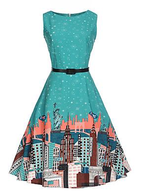 cheap Girls' Dresses-Kids Girls' Floral Cartoon Fashion Print Sleeveless Dress Green / Cotton