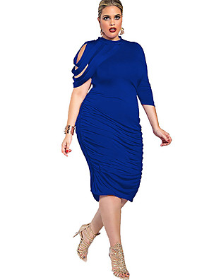 cheap Party Dresses-Women's Bodycon Knee Length Dress - Half Sleeve Blue Solid Colored Summer Crew Neck Daily Going out Skinny Asymmetrical Black Purple Royal Blue Brown L XL XXL XXXL XXXXL XXXXXL
