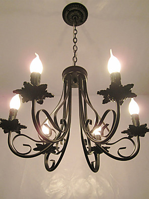 cheap Wedding Wraps-6-Light 51 cm Candle Style Chandelier Metal Black Chic & Modern 110-120V / 220-240V