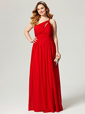 cheap Wedding Dresses-Sheath / Column Elegant Open Back Holiday Cocktail Party Prom Dress One Shoulder Sleeveless Floor Length Chiffon with Pleats Ruched Side Draping 2020 / Formal Evening