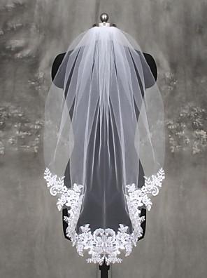cheap Wedding Wraps-One-tier Lace Applique Edge Wedding Veil Fingertip Veils with Appliques Lace / Tulle / Mantilla