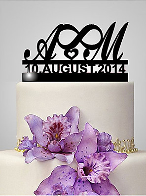 cheap Watches-Cake Topper Classic Theme / Wedding Funny & Reluctant / Monogram Plastic Wedding / Anniversary with 1 pcs Poly Bag