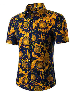 cheap Men's Shirts-Men's Floral Tribal Shirt - Cotton Vintage Daily Classic Collar White / Blue / Red / Yellow / Navy Blue / Gray / Light Blue / Summer / Short Sleeve