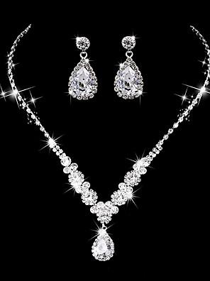 cheap Wedding Slips-Women's AAA Cubic Zirconia Drop Earrings Choker Necklace Bridal Jewelry Sets Drop Luxury Elegant Vintage Cubic Zirconia Earrings Jewelry Silver For Wedding Anniversary Party Evening Ceremony
