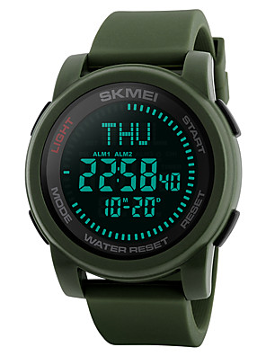 cheap Smart Watches-SKMEI Men's Sport Watch Military Watch Wrist Watch Digital Casual Water Resistant / Waterproof Silicone Black / Green Digital - Black Green Two Years Battery Life / Japanese / Alarm / Chronograph