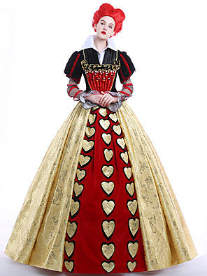 cheap Cocktail Dresses-Alice's Adventures in Wonderland Queen of Hearts Dress Women's Movie Cosplay Dress Petticoat Wig Christmas Halloween Carnival Ssatin
