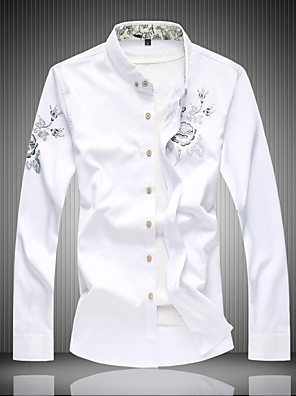 cheap Men's Shirts-Men's Floral Print Shirt - Cotton Active Daily Going out Work Wine / White / Black / Navy Blue / Long Sleeve
