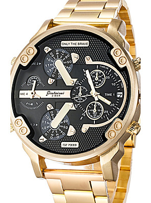cheap Dress Classic Watches-Men's Wrist Watch Oversized Charm Calendar / date / day Stainless Steel Black / Gold Analog - Black / Gold Black / Yellow Black / Blue Two Years Battery Life / Dual Time Zones / Large Dial