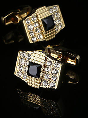 cheap Wedding Dresses-Geometric / Square Cut Golden Cufflinks Gift Boxes & Bags / Fashion Men's Costume Jewelry For