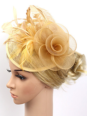 cheap Wedding Wraps-Feather / Net Fascinators / Flowers / Headwear with Floral 1pc Wedding / Special Occasion / Party / Evening Headpiece