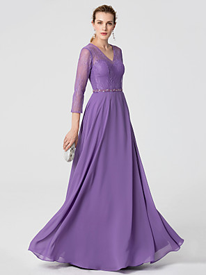 cheap Evening Dresses-A-Line Elegant Holiday Cocktail Party Formal Evening Dress V Neck 3/4 Length Sleeve Floor Length Chiffon Lace with Sash / Ribbon Beading 2020 / Illusion Sleeve
