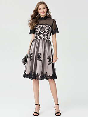 cheap Special Occasion Dresses-Back To School Ball Gown Floral Cute Holiday Homecoming Cocktail Party Dress High Neck Short Sleeve Knee Length Lace Tulle with Appliques 2020 / Illusion Sleeve Hoco Dress