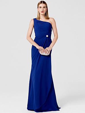 cheap Cocktail Dresses-Sheath / Column Elegant Minimalist Prom Formal Evening Military Ball Dress One Shoulder Sleeveless Sweep / Brush Train Chiffon with Crystal Brooch 2020