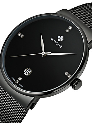 cheap Smart Watches-WWOOR Men's Wrist Watch Quartz Luxury Calendar / date / day Multi-Colored Analog - Black Blue Gold Two Years Battery Life / Maxell SR626SW