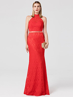 cheap Special Occasion Dresses-Mermaid / Trumpet Open Back Prom Formal Evening Dress High Neck Sleeveless Floor Length Lace with Sash / Ribbon Crystals 2020