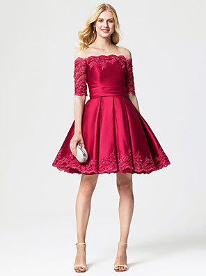 cheap Cocktail Dresses-Ball Gown Lace Up Holiday Homecoming Cocktail Party Dress Off Shoulder Half Sleeve Knee Length Lace Over Satin with Sash / Ribbon Pleats 2020 / Prom