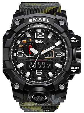 cheap Sport Watches-SMAEL Men's Sport Watch Digital Watch Hunting Watch Water Resistant / Waterproof Silicone Black / Red Analog - Digital - Red / Blue Black / Orange Khaki Two Years Battery Life / Stopwatch