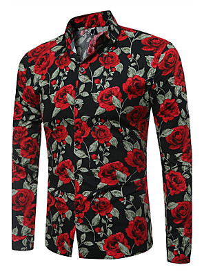 cheap Men's Shirts-Men's Floral Print Slim Shirt Vintage Daily Going out White / Black / Long Sleeve