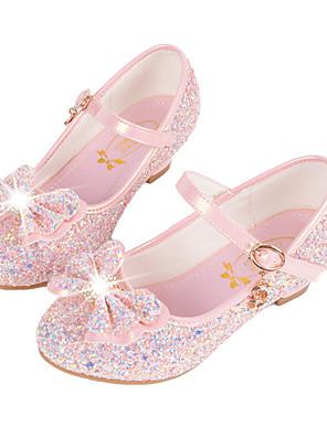 cheap Girls' Dresses-Girls' Comfort / Novelty / Flower Girl Shoes Synthetic Microfiber PU Flats Little Kids(4-7ys) / Big Kids(7years +) Buckle / Sequin White / Pink / Blue Fall / Winter / TPR (Thermoplastic Rubber)