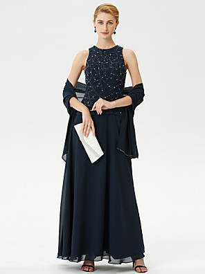 cheap Mother of the Bride Dresses-Ball Gown A-Line Mother of the Bride Dress Wrap Included Jewel Neck Ankle Length Chiffon Sleeveless with Beading 2020