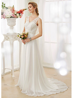 cheap Wedding Dresses-A-Line Wedding Dresses V Neck Court Train Chiffon Lace Bodice Regular Straps Sexy Illusion Detail Backless with Beading Appliques Button 2020