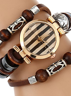 cheap Bracelet Watches-Women's Bracelet Watch Wrap Bracelet Watch Quartz Quilted PU Leather Brown Water Resistant / Waterproof Creative Analog Ladies Casual Bangle - Brown / Stainless Steel
