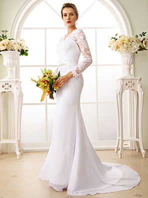 cheap Evening Dresses-Mermaid / Trumpet Wedding Dresses V Neck Court Train Chiffon Floral Lace Long Sleeve Sexy See-Through Backless Illusion Sleeve with Sash / Ribbon Appliques 2020
