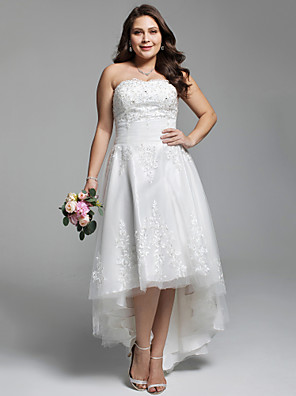cheap Wedding Dresses-A-Line Wedding Dresses Strapless Asymmetrical Lace Tulle Strapless Little White Dress Open Back with Ruched Beading Appliques 2020