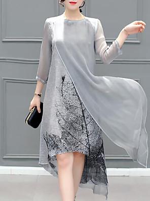 cheap Romantic Lace Dresses-Women's Plus Size Knee Length Dress Chiffon - 3/4 Length Sleeve Print Layered Summer Going out Gray S M L XL XXL XXXL XXXXL XXXXXL