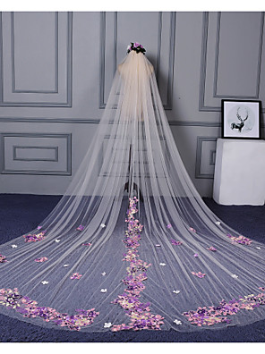 cheap Wedding Veils-One-tier Cut Edge / Lace Applique Edge Wedding Veil Cathedral Veils with Appliques / Scattered Bead Floral Motif Style Lace / Tulle / Classic