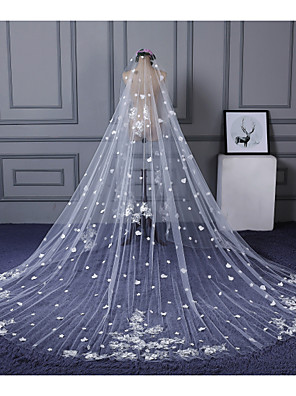 cheap Wedding Dresses-One-tier Lace Applique Edge Wedding Veil Cathedral Veils with Scattered Bead Floral Motif Style / Appliques Lace / Tulle / Classic