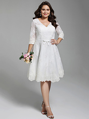 cheap Prom Dresses-A-Line Wedding Dresses V Neck Knee Length All Over Lace 3/4 Length Sleeve Casual Vintage See-Through Illusion Detail Backless with Sashes / Ribbons Bow(s) Buttons 2020