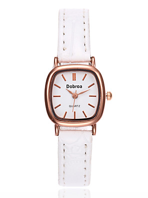 cheap Quartz Watches-Women's Wrist Watch Square Watch Quartz Ladies Leather Black / White / Brown Analog - White Black Brown