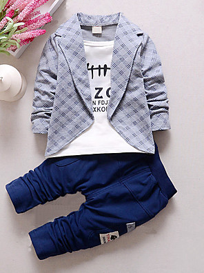 cheap Boys' Clothing Sets-Toddler Boys' Check Plaid Patchwork Long Sleeve Regular Clothing Set Red