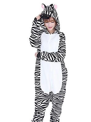 cheap Cocktail Dresses-Adults' Kigurumi Pajamas Zebra Onesie Pajamas Flannel Fabric Black / White Cosplay For Men and Women Animal Sleepwear Cartoon Festival / Holiday Costumes / Stripes