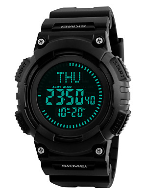 cheap Digital Watches-SKMEI Men's Sport Watch Military Watch Wrist Watch Digital Fashion Water Resistant / Waterproof Quilted PU Leather Black Digital - Black Red Blue / Japanese / Alarm / Calendar / date / day / Luminous