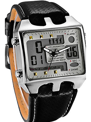 cheap Sport Watches-Men's Digital Watch Charm Water Resistant / Waterproof Leather Black Analog - White Black Red / Stainless Steel / Calendar / date / day