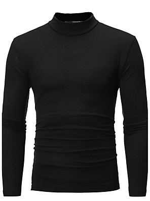 cheap Men's Sweaters & Cardigans-Men's Daily Plus Size T-shirt Graphic Solid Colored Long Sleeve Slim Tops Cotton Basic Turtleneck White Black Blue / Fall
