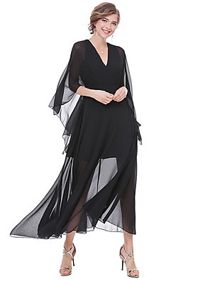 cheap Women's Dresses-Women's Maxi long Dress Sheath Dress - 3/4 Length Sleeve Solid Colored Fall V Neck Street chic Going out Batwing Sleeve White Black S M L XL